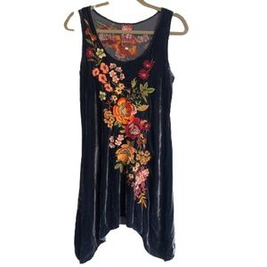 Johnny Was Velvet Embroidered Tunic Top Blue Small